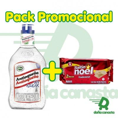 Pack Aguardiente Antioqueño 750ml + Galleta Saltin 200gr.